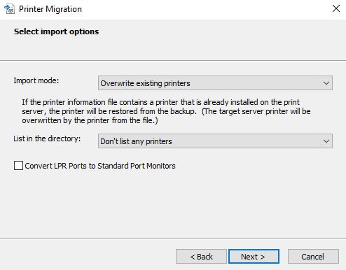 migrate printers from 2008 to 2016