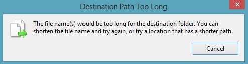 the file name would be too long for the destination folder