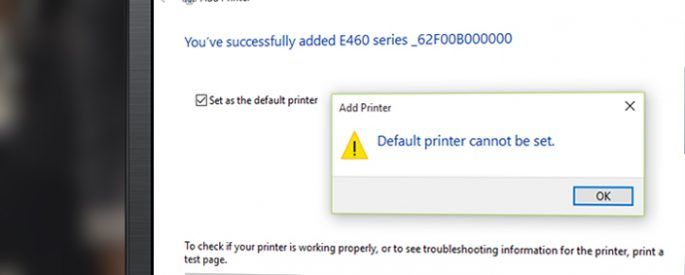 Default printer cannot be set cover