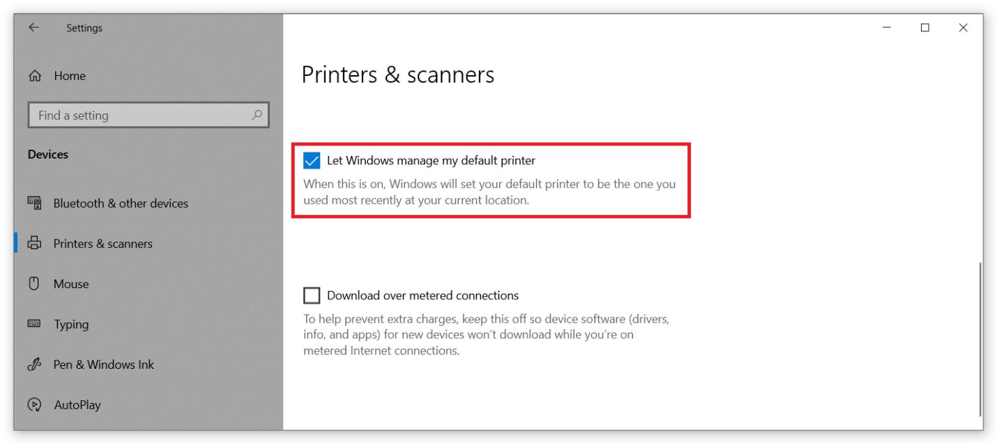 set default printer windows 10 registry