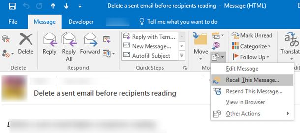 recall message outlook