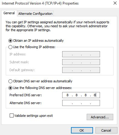 unidentified network dns