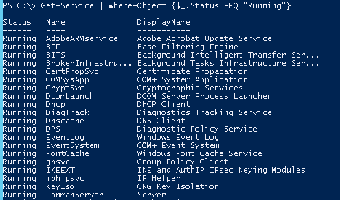 powershell get service status