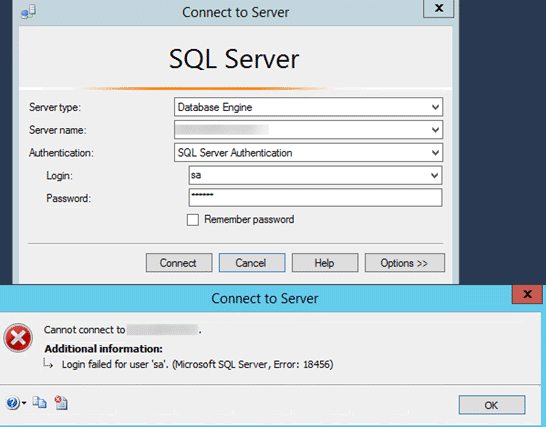 microsoft sql server error 18456