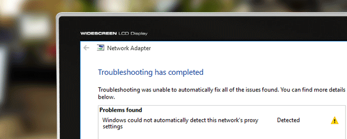 windows could not automatically detect network proxy settings