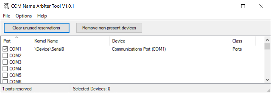 how to clear com ports