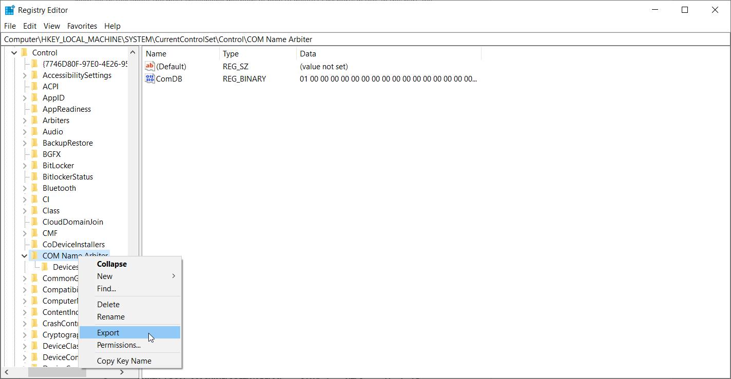 release com port windows 10