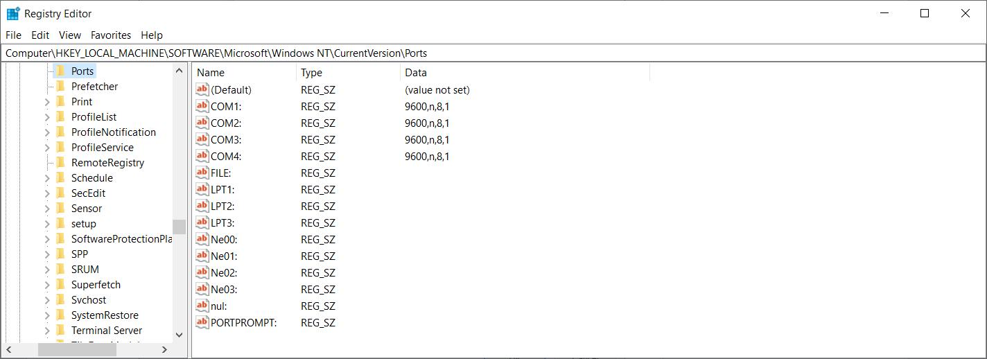 reset com port numbers windows 10