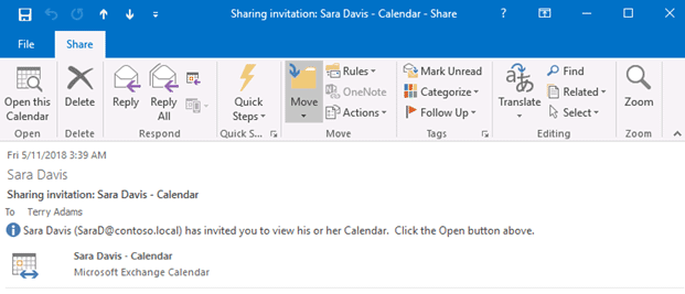 outlook 2016 shared calendar