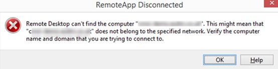 remote desktop can't find computer