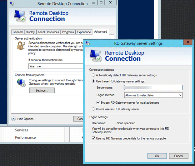 remote desktop does not belong to the specified network