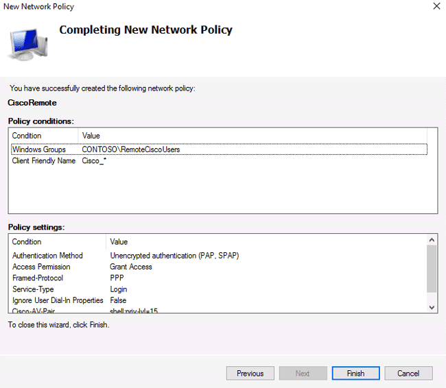 radius server authentication settings