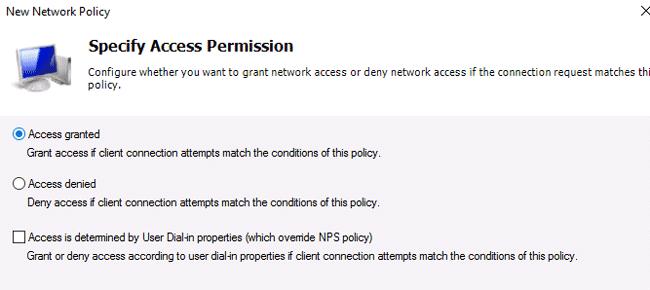 radius server permissions