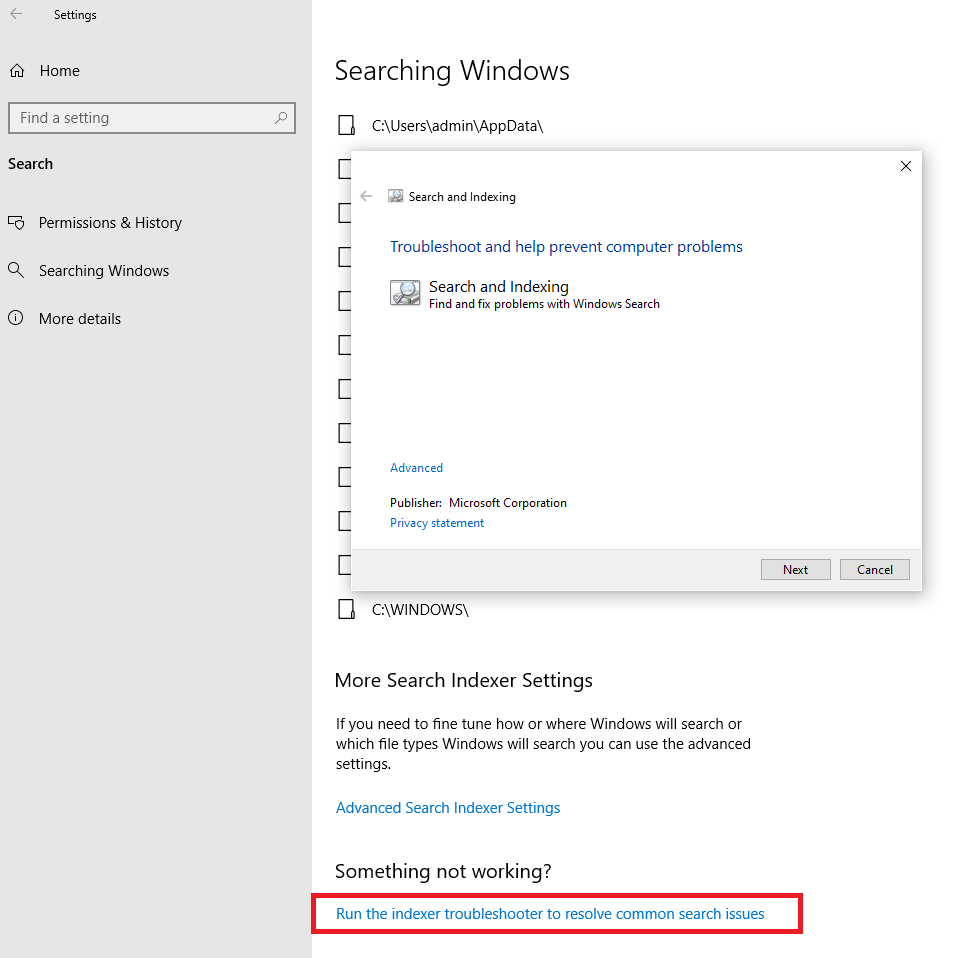 windows search filter host