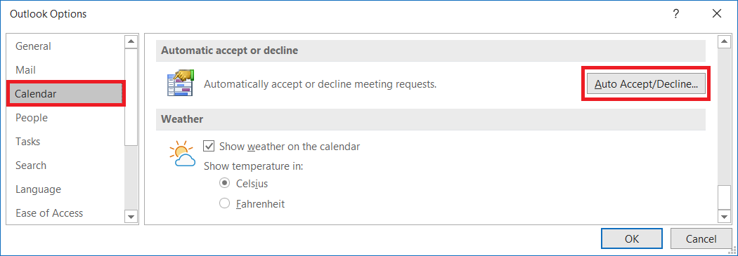 outlook automatic accept meeting requests