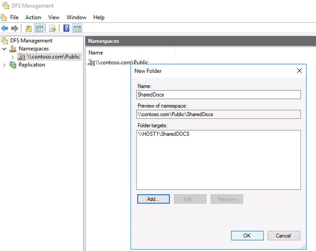 setup dfs replication server 2016