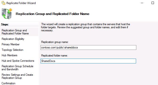 dfs replication windows server 2016
