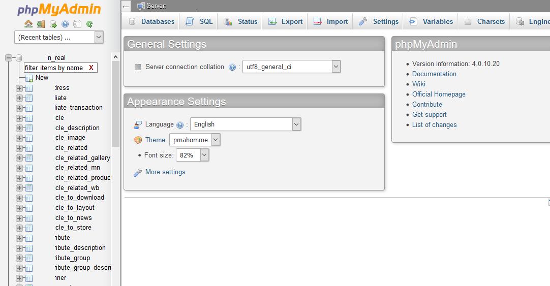 Managing MySQL Database phpMyAdmin