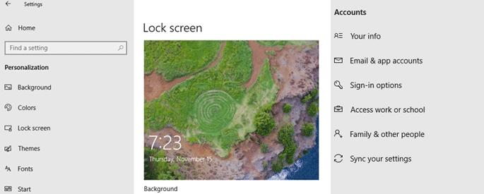 password lock screen windows registry