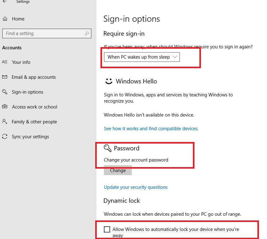Configure Password Lock Screen on Windows 10