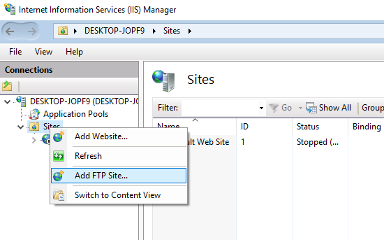 ftp server on windows 10