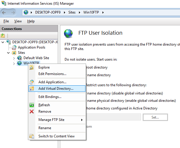 how to setup ftp server in windows 10