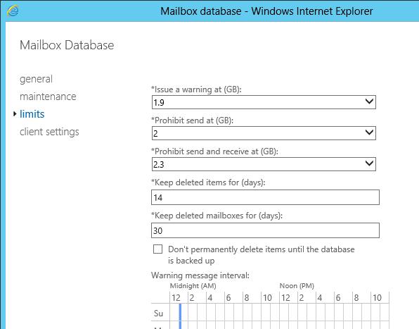 set mailbox quota exchange 2016 powershell