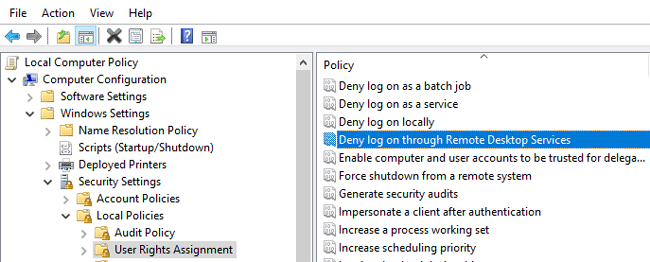 Deny logon through Remote Desktop Services