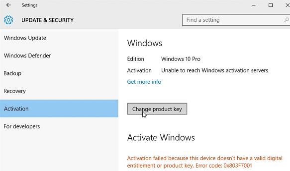Windows 10 Activation Error: Unable to Reach Windows Activation Servers