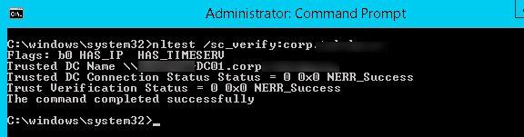 reset computer account trust relationship
