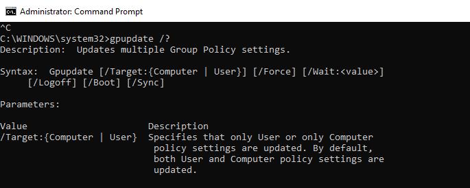 Using GPUpdate command