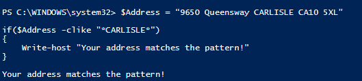 powershell string comparison operators