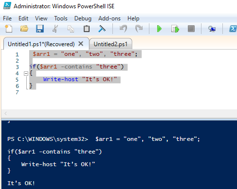 powershell equals operator