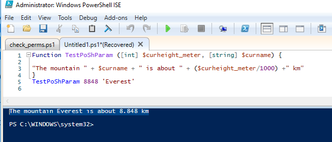 powershell function default parameter