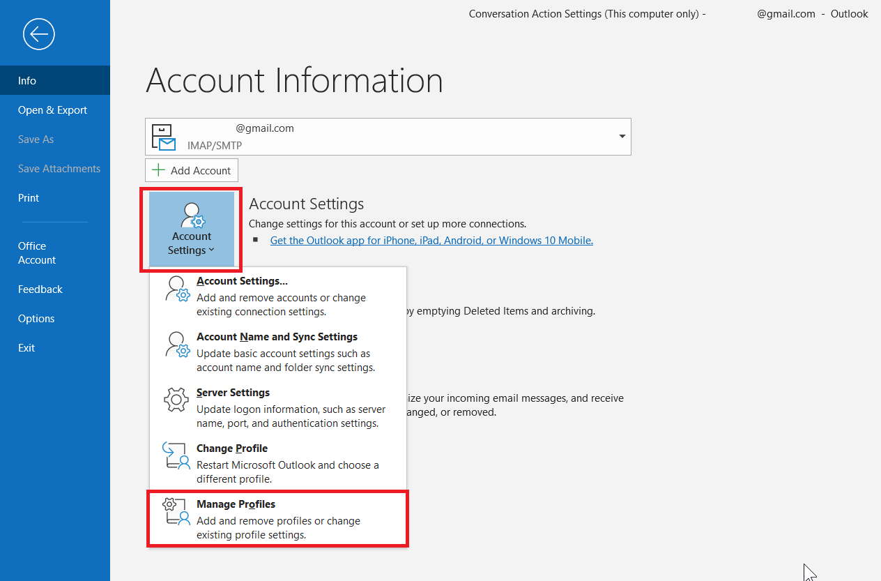outlook gmail imap not working