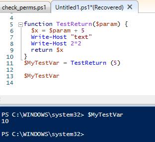 powershell function return type