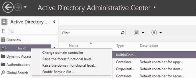 Enable Active Directory Recycle Bin