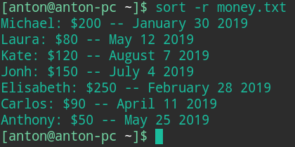 linux sort examples