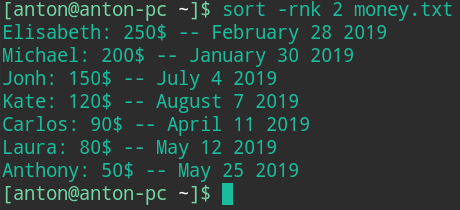 sort command linux