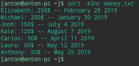 sort command bash linux