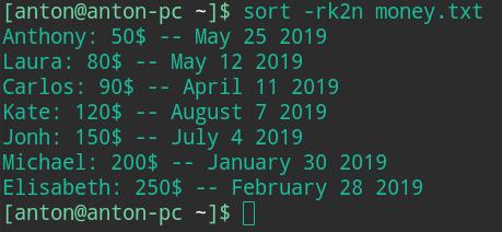 bash sort by column linux