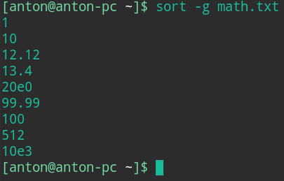 command in linux sort by size