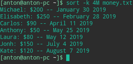 command in linux sort by month