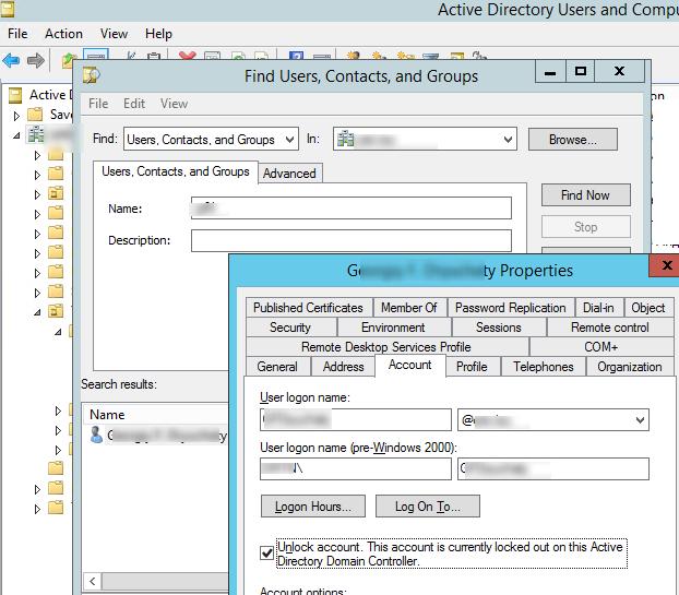 unlock account active directory