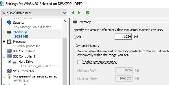 nested virtualization windows server 2016