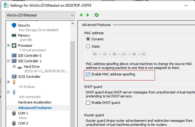 windows server 2016 enable nested virtualization