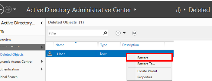 active directory recycle bin 2012