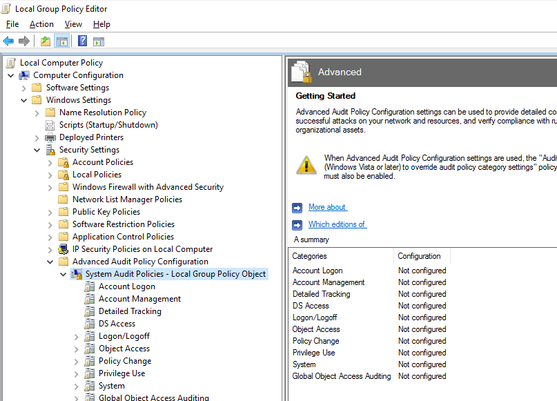 gpo advanced audit policy configuration
