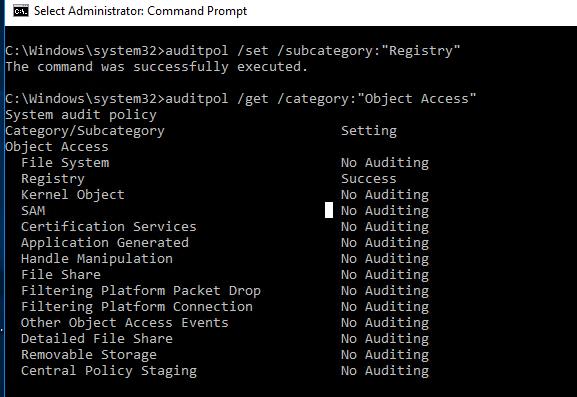 advanced audit policy configuration windows
