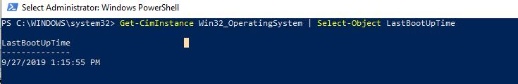 windows server uptime command